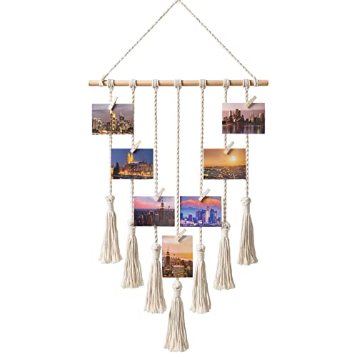 Mkono Hanging Photo Display Macrame Wall Hanging Pictures Organizer Home  Decor, With 25 Wood Clips