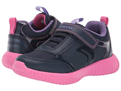 Geox Kids Jr Waviness 11 (Little Kid) (Navy/Pink) Girls Shoes