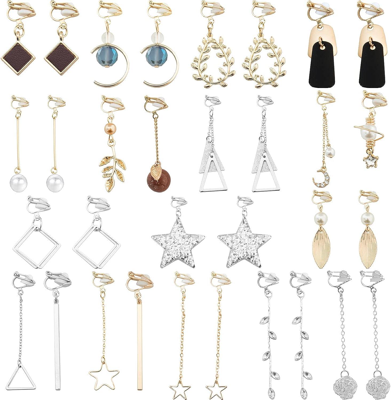 NEWITIN 16 Pairs Clip On Earrings Multiple Cute Earrings Fashion