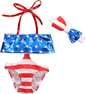 9a7f4f6318 Eyicmarn Toddler Kids Baby Girls US Flag Print Stripe One Piece Swimsuit  Bikini Swimwear Beach Bathing