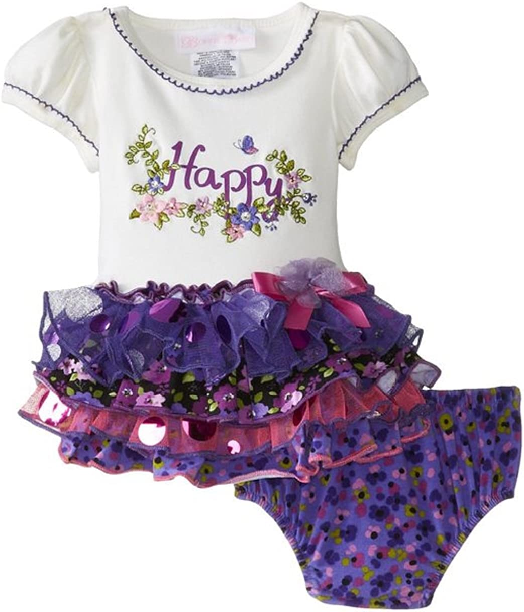 Bonnie Baby Girls' Sale Special Price Happy Appliqued Tier Dress Max 85% OFF