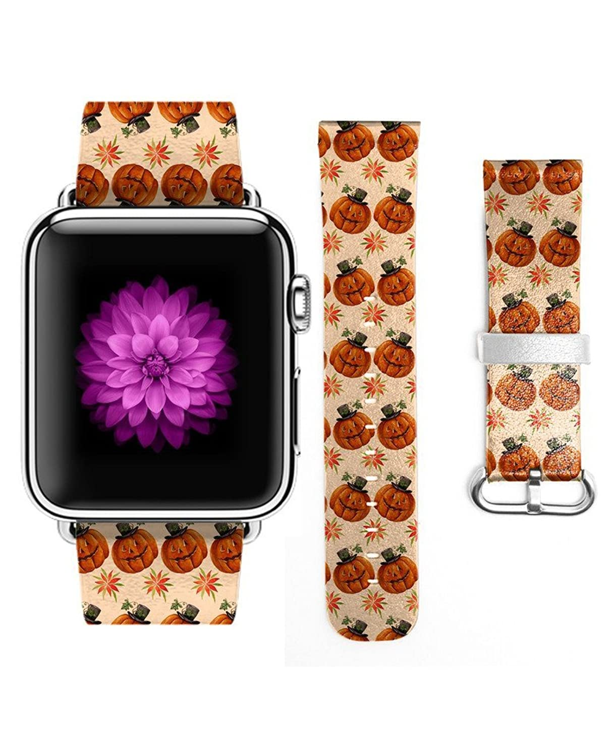 3C-LIFE Watch Band 38mm Women for Apple iWatch,Genuine Leather Strap Wrist Band Replacement for Apple Watch All Models 38mm-Halloween's Pumpkin
