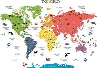 HomeEvolution Kids Educational Removable World Map Peel and Stick Large Wall Decals Stickers for Children Nursery Bedroom ...