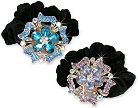 Jeweled Flower Black Elastic Hair Tie Scrunchie - Set of 2 - White Gold Color Metal with Decorative Blue and Pink Rhinestone Crystals