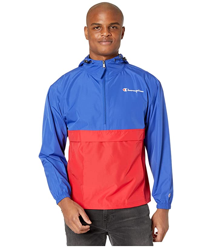 Champion  Colorblocked Packable Jacket (Surf the Web/Scarlet) Mens Clothing