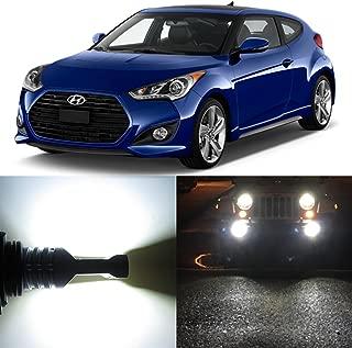 Alla Lighting 2x Super Bright 6000K Xenon White H8 H8LL LED Bulbs for Fog Light Lamps for 2013 2014 2015 2016 2017 Hyundai Veloster W/Projector-type Headlamp/Turbo/Turbo R-Spec