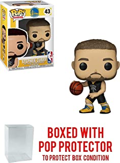 POP! Sports NBA's Golden State Warriors, Stephen Curry Blue Jersey #43 Action Figure (Bundled with Pop Box Protector to Protect Display Box)