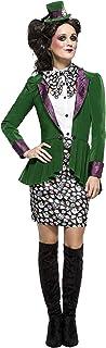 Smiffys-44532S Disfraz de sombrerera excéntrica de Fever, con Chaqueta, Falda, Blusa, Color Verde, S-EU Tamaño 36-38 (Smiffy'S 44532S)