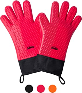 JIESUO BBQ Grilling Gloves, Heat Resistant Gloves Silicone Oven Mitts, Thick Long Waterproof Non-Slip Potholder for Barbecue, Cooking, Baking (Red)