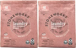Grab Green Stoneworks Laundry Detergent Pods, Powered by Naturally-Derived Plant & Mineral-Based Powder Pods, Rose Petal, 50 Loads, 2-Pack—EPA Safer Choice Certified
