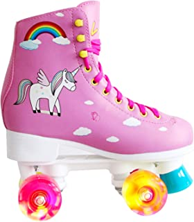 LIKU Quad Roller Skates for Girl and Women with All Wheel Light Up,Indoor/Outdoor Lace-Up Fun Illuminating Roller Skate for Kid