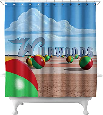 Lantern Press Wildwood, New Jersey - Beach Balls and Sign 44714 (74x74 Polyester Shower Curtain)