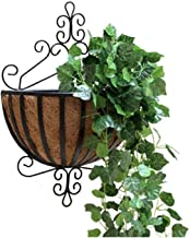 Wandgemonteerde bloemstandaard voor woondecoratie, display opbergrek balkon woonkamer gang ijzer kunst hoogte 53cm (zwart)
