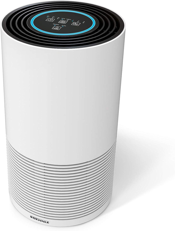Soehnle Purificador de aire Airfresh Clean 400, filtro de aire con sistema de filtrado en 4 fases y luz ultravioleta, purificador ambiental para hogar