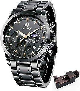 BENYAR - Wrist Watch for Men, Genuine Leather Strap Watches, Quartz Movement, Waterproof Analog...