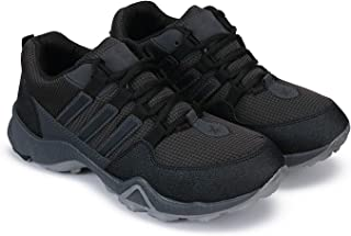 Zenwear Sports Shoes Lace Up Rexine Upper Running Shoes for Men, Black