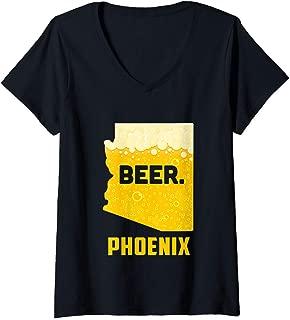 Womens State AZ Arizona Drinking Home Love Beer Phoenix City V-Neck T-Shirt
