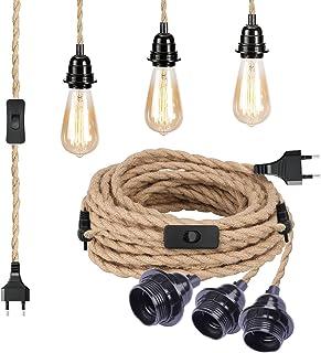 Lampsockel E27 med strömbrytare, 7,3 m textilkabel med 3 svarta bakelit-ramar, hängande lampa med kontakt och lampkabel, v...