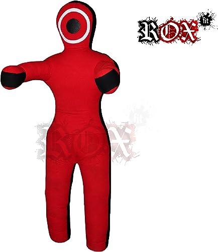 ROX Fit Grappling Dummy Combat Mannequin réaliste Droite Style brésilien Jiujitsu Formation Sac 3 Pieds 4 Pieds 5 Pieds, 6 Pieds (Vide) Rouge Noir