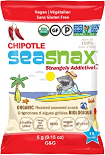 SeaSnax Organic Roasted Seaweed Snack Chipotle, 0.18 oz (Pack of 6), 6 Count