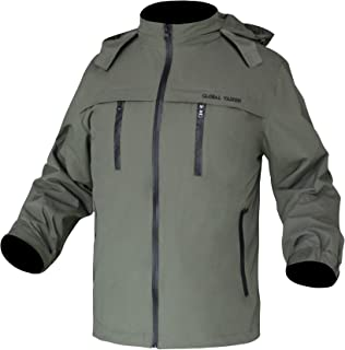 HEAT WARMER Mens Waterproof Windbreaker Lightweight Workout Jacket with Hideaway Hood Army Green