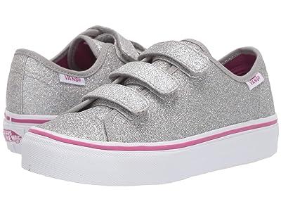 Vans Kids Style 23 V (Little Kid/Big Kid) ((Glitter Textile) Silver/True White) Girl
