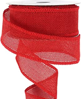Midi Ribbon Valentine Ribbon Wired Red Ribbon 1-1/2 inch Burlap Ribbon for Gift Wrapping Solid Wired Edge Ribbon - 10 Yards