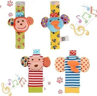 FunsLane Baby Rattle 4 Pcs Baby Wrist Rattles and Foot Finder Set Sock Toys Developmental Soft Animal Toys Adorable Monkey and Elephant Style Baby Shower Gifts