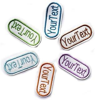 SSEELL - 15 etiquetas de nombre bordadas personalizadas para coser en parche. Etiqueta del bolso escolar. Mezcla de 6 colores. Etiqueta de nombre de Indentifing