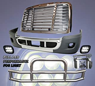 QSC Bumper LED Fog Light Grille Deer Guard Set for Freightliner Cascadia 08-16