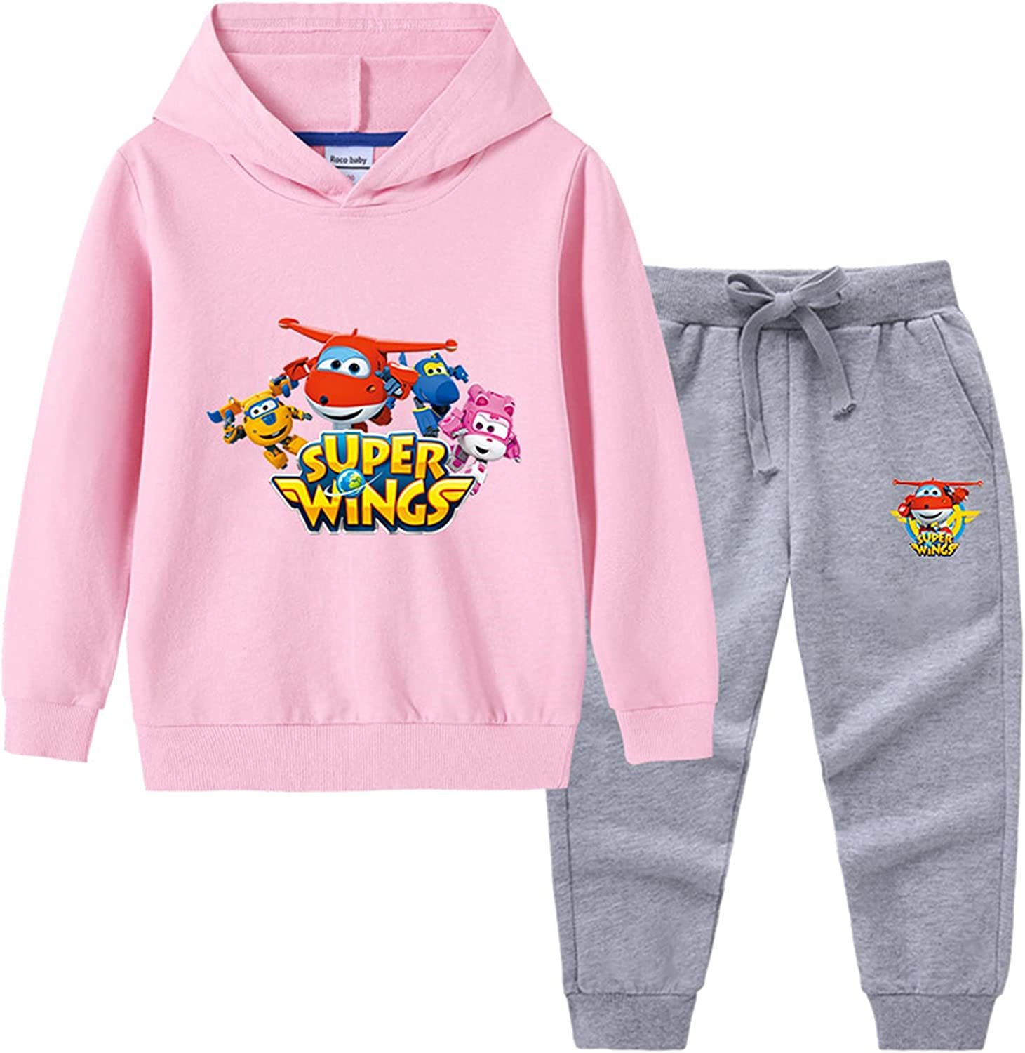 Ceomate Little Kids Super Wings Sweatshirt 2 Piece Suit Clothes,Boys Girls Pullover Hoodie and Pants Set