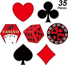 Conjunto de Tarjeta de Las Vegas, Recorte de Fiesta de Bricolaje en Casino Recortes de Señal de Carta de Juego Decoración de Fiesta de Las Vegas para Suministros de Fiesta Tema de Casino Set de 35