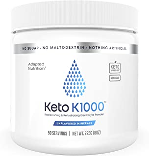 Keto K1000 Electrolyte Powder | Boost Energy & Beat Leg Cramps | No Maltodextrin or Sugar | Unflavored Minerals, No Stevia...