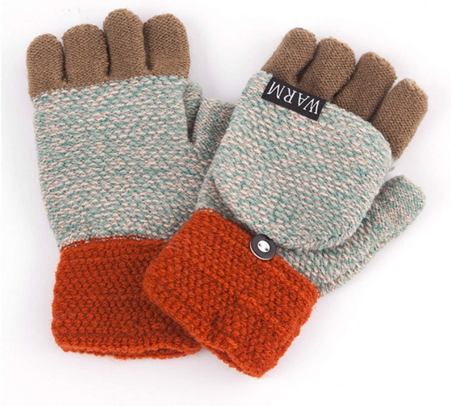 GUYANMAY Lace Gloves Winter Warm Thickening Wool Gloves Knitted Flip Fingerless Flexible Exposed Finger Thick Gloves Mittens Men Women Glove (Color : 6)