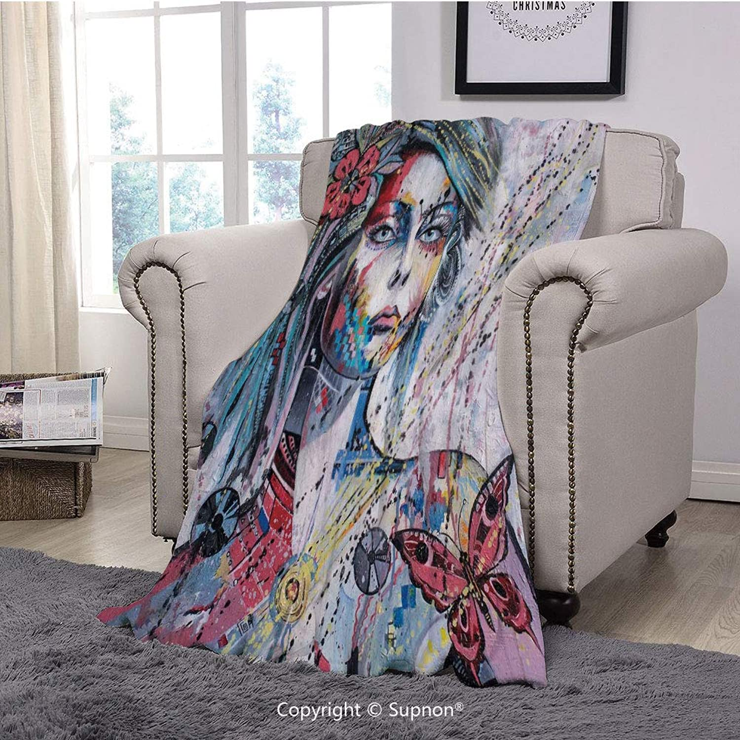 BeeMeng Printing Blanket Coral Plush Super Soft Decorative Throw Blanket,Art,Fantasy Portrait of a Girl with Floral and Geometric Details Butterflies color Splashes,Multicolor(59  x 59 )