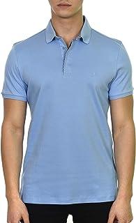 Duca Blanca Men's Short Sleeve Regular Fit Cotton Hidden Button Polo Shirt Quick-Dry