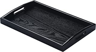 JPCRAFT Bandeja rectangular de madera para servir, negra, 14 por 9 pulgadas