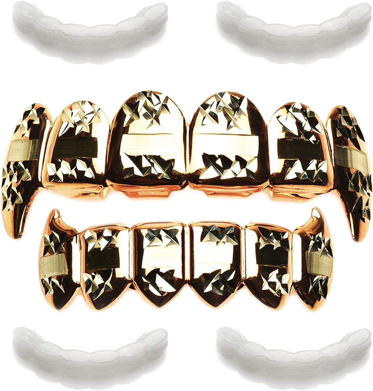 metaltree98 Rose Gold Vampire Grillz Fangs Teeth Dracula with 4pc Fixing bar/LS 020 C3 RG