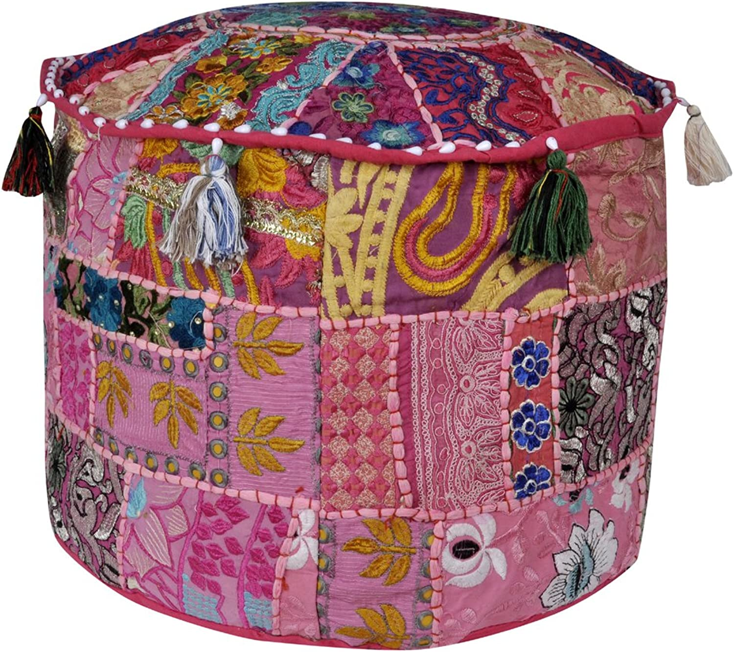 Indian Embroidered Deisgn Round Patchwork Floor Cushion Cover 17 X 17 X 12 In...