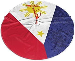 Philippine Flag Independence Day Christmas Tree Skirts Thick Round Tree Skirt Rustic Xmas Tree Skirt Wear-Resistant Christmas Supply Traditional Xmas Ornaments for Christmas New Year Party