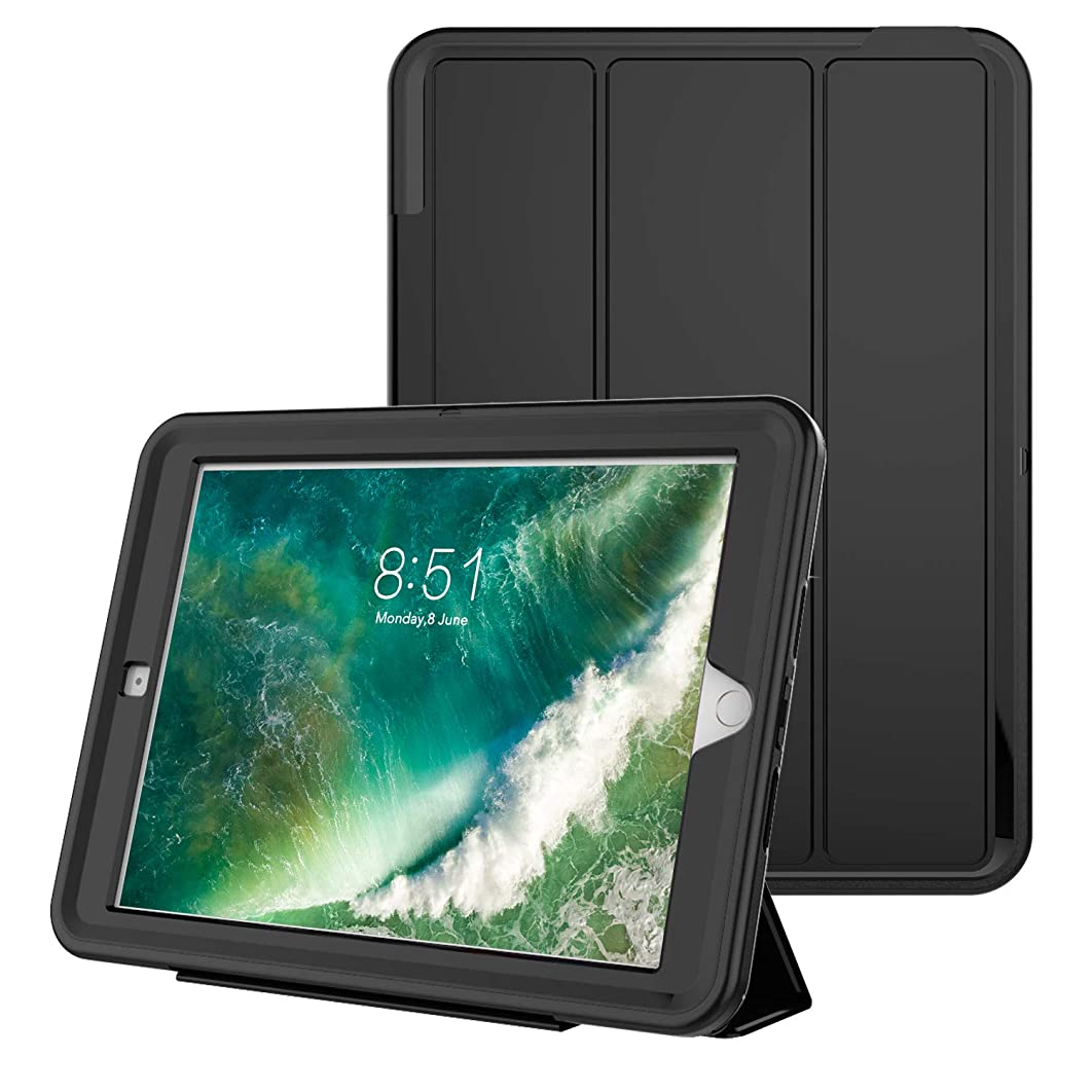 E-PRODO Shockproof Case for New iPad 2018/2017 9.7inch, Heavy Duty Cover with Auto Sleep/Wake Magnetic Front Page & Full Body Protection, Compatible with iPad 5th/ 6th Generation [Pure Black]