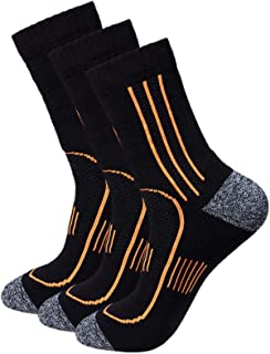 Men's 3-Pack Black Cushioned Anti Odor Blister Resit Crew Compression Hiking Trekking Socks