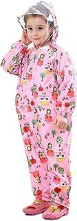 LIVACASA Unisex Tuta Impermeabile Bambino Poncho Antipioggia Bambina con Cappuccio Leggero con Stampato per Bambini 1-7 Anni