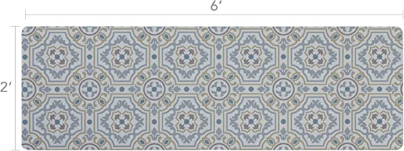 Vinyl Floor Runner, Durable, Soft and Easy to Clean, Ideal for Kitchen Floor, Entryway or Hallway Floor Mat. Freestyle, Tweed Tapestry Pattern (2 ft x 6 ft)