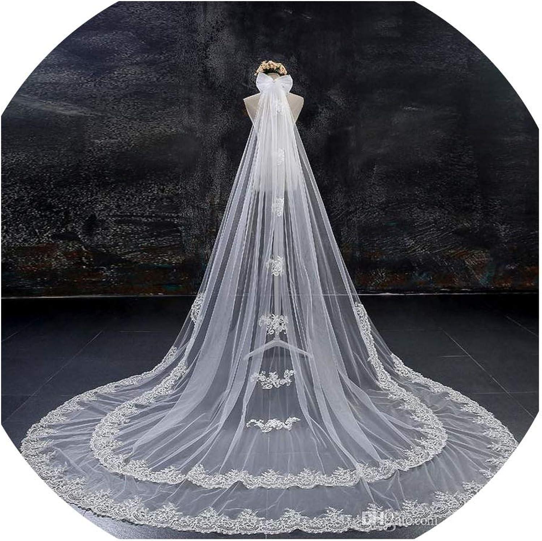 Wedding Veils Long Veils Lace Applique Cryals OneLayer Cathedral Length Bridal Veil,White,300cm