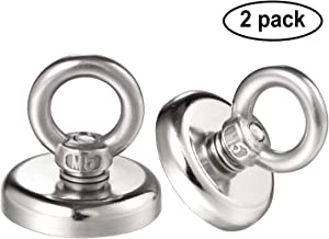 Magnetic Hooks, 2 Pack Super Strong Neodymium Fishing Magnets, 75 lbs(35KG) Pulling Force Rare Earth Magnet with Eyebolt for Retrieving in River and Magnetic Fishing- Diameter 1.26 inch(32 mm)
