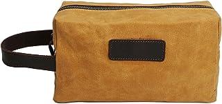 Men's Clutch Oil Wax Canvas Wash Bag Retro Male Bag Wash Bag Leather Wrist Bag (Color : Orange, Size : S)