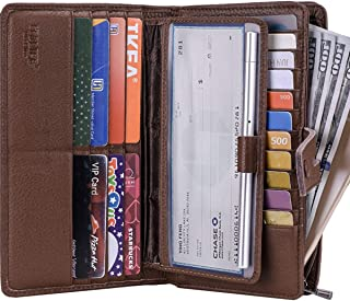 Womens Wallet,Large Capacity RFID Blocking Leather Wallets Credit Cards Organizer Ladies Wallet with Checkbook Holder