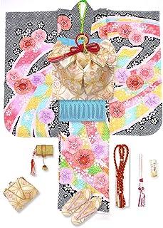 七五三 7歳 着物 フルセット 正絹 絵羽柄の子供着物 結び帯セット 選べる帯「黒 桜に熨斗」NIJ836-set