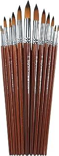 KiKi Artist Round Pointed Soft Tip Anti-Shedding Nylon Hair Wood Long Handle Paint Brushes for Watercolor -Set 13 Pcs